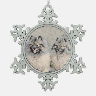 Broers 2 die van Keeshond - het Originele Art. van Tin Sneeuwvlok Ornament