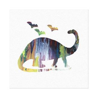 Brontosaurus en knuppels canvas afdruk