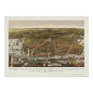 Brooklyn, NY Panoramische Kaart - 1879 Poster