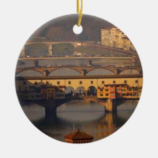 Brug van Florence, Italië Rond Keramisch Ornament