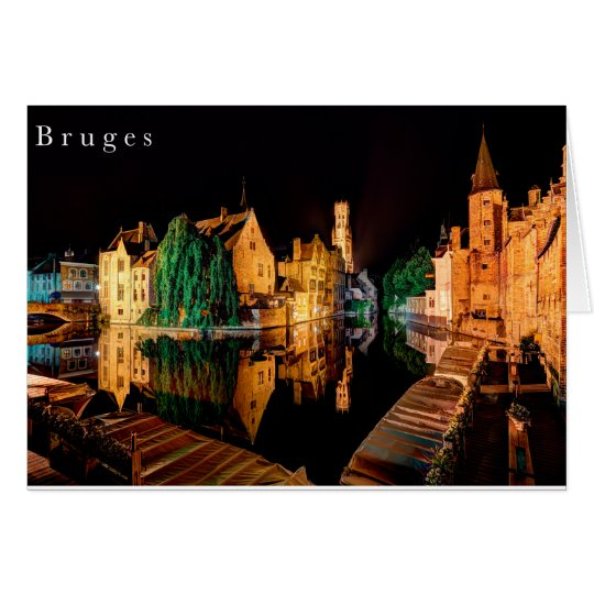 Bruges at night card kaart