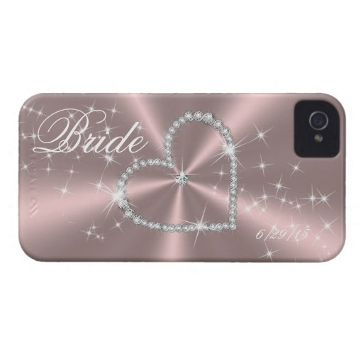 BRUID - HET HART VAN DE DIAMANT OP LICHTROSE SATIJ iPhone 4 HOESJE