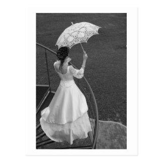 Bruid met paraplu briefkaart