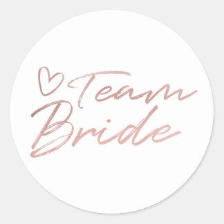 Bruid van het team - nam Gouden faux foliesticker Ronde Sticker