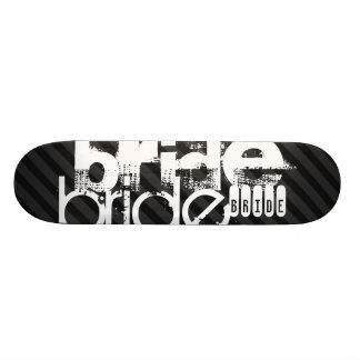 Bruid; Zwarte & Donkergrijze Strepen Skate Deck