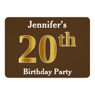 Bruin, de Gouden 20ste Partij van de Verjaardag Kaart