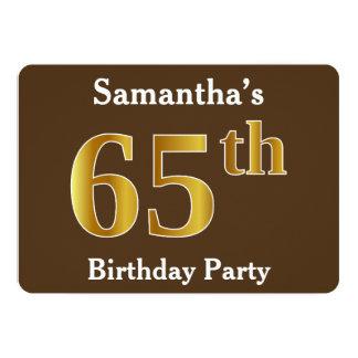 Bruin, de Gouden 65ste Partij van de Verjaardag 12,7x17,8 Uitnodiging Kaart