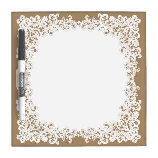 Bruin en wit vierkant het kantontwerp van de jute whiteboard