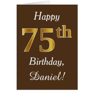 Bruin, Gouden 75ste Verjaardag Faux + De Naam van Kaart