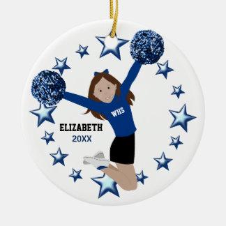 Bruin Haar Cheerleader Pom Poms in Blauw & Zwart Rond Keramisch Ornament