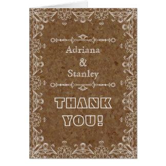 Bruine cork & bloeit lijsthuwelijk dankt u kaart