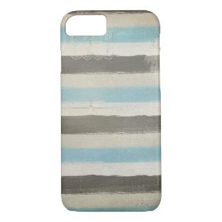 Bruine en Blauwe Horizontale Strepen in Waterverf iPhone 7 Hoesje