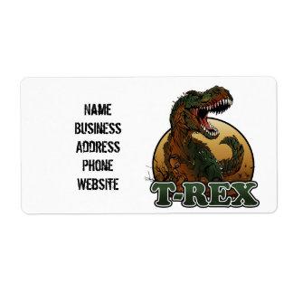 bruine en groene illustratie geweldige t -t-rex verzendlabel