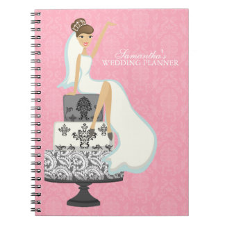 Bruine Haired Bruid op {de roze} Cake van het Ringband Notitie Boeken