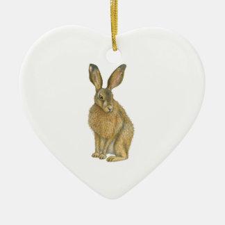 Bruine Hazen Keramisch Hart Ornament