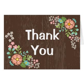Bruine Houten Roze Bloemen dankt u het Huwelijk Briefkaarten 0