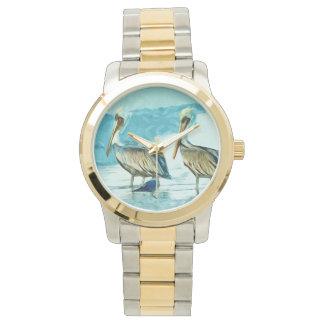 Bruine Pelikaan in de Samenvatting van de Kleuren Horloges
