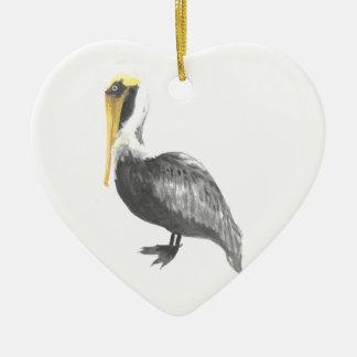 Bruine Pelikaan Keramisch Hart Ornament