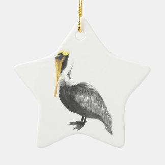 Bruine Pelikaan Keramisch Ster Ornament