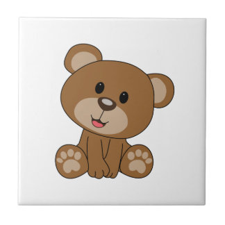 Bruine Teddybeer Tegeltje Vierkant Small