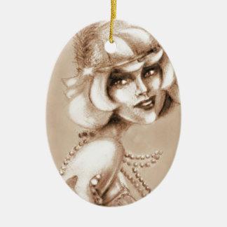 Brullende sepia van het jaren '20meisje keramisch ovaal ornament