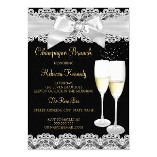 Brunch van Champagne van het Kant van Elegantm 12,7x17,8 Uitnodiging Kaart