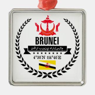 Brunei Zilverkleurig Vierkant Ornament