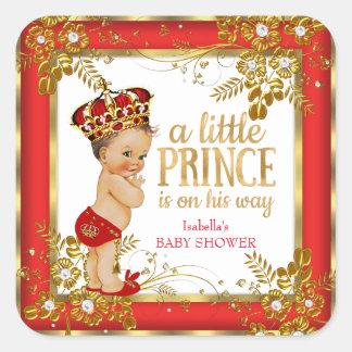 Brunette van de Jongen van het Baby shower van de Vierkant Sticker