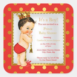 Brunette van de Jongen van het Baby shower van de Vierkant Stickers