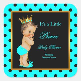 Brunette van de Jongen van het Baby shower van de Vierkante Sticker