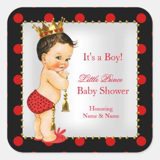 Brunette van de Jongen van het Baby shower van de Vierkante Stickers