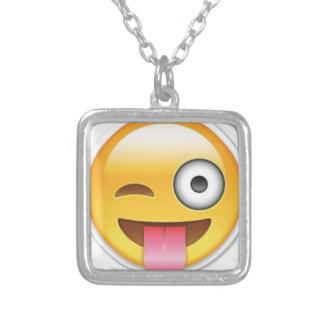Brutale emoji Smiley knipoogt Zilver Vergulden Ketting