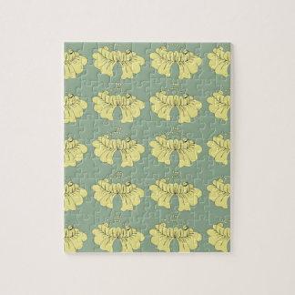 bubbleflower geel op groen legpuzzel