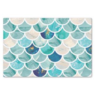 Bubbly Aqua turquoise marble mermaid fish scales