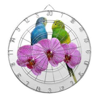 Budgie met Paarse Orchidee Dartbord