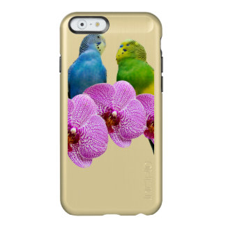 Budgie met Paarse Orchidee Incipio Feather® Shine iPhone 6 Hoesje