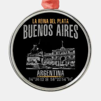 Buenos aires zilverkleurig rond ornament