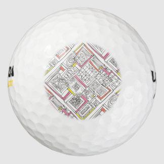 Buiten de doos-Abstracte Geometrische Krabbel Golfballen