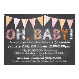 Bunting van het bord het Baby shower van het 12,7x17,8 Uitnodiging Kaart