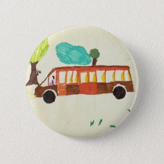 bus tekening door kindkenteken ronde button 5,7 cm