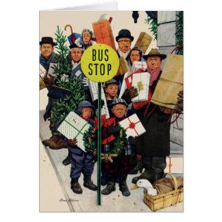 Bushalte bij Kerstmis Wenskaart
