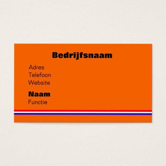 Businesskaart oranje met rood~wit~blauw lijn visitekaartjes