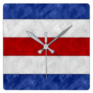 C Charlie Watercolor Nautical Signal Maritime Vlag Vierkante Klok