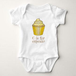 C is voor Cupcake de Gele Citroen Brief C Romper