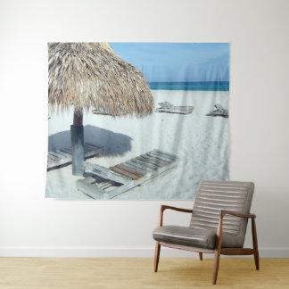 Cabana van het strand Tropisch Schilderachtig Art. Wandkleed