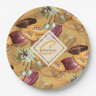 Cacaobonen, de Bloemen van de Chocolade, de Giften Papieren Bordje