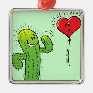 Cactus die met een Ballon van het Hart flirten Zilverkleurig Vierkant Ornament