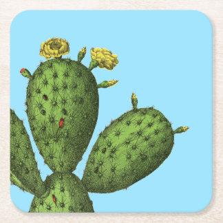 Cactus met Gele Bloemen Vierkante Onderzetter