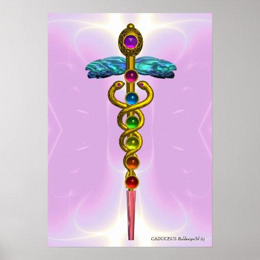 CADUCEUS EN 7 CHAKRAS, trillend gouden amethist Poster