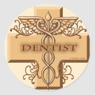 Caduceus van de tandarts ronde sticker